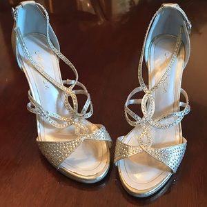Caparros Gold Lame Leather Rhinestone sandals!